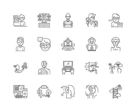 Hacker line icons, linear signs, vector set, outline concept illustration