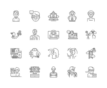 Hackers line icons, linear signs, vector set, outline concept illustration Stock Illustratie