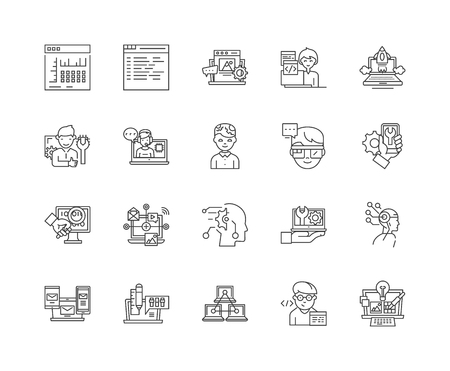 Hacking line icons, linear signs, vector set, outline concept illustration Illustration