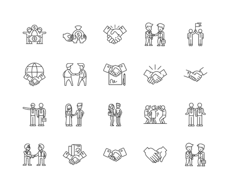 Hand shake line icons, linear signs, vector set, outline concept illustration