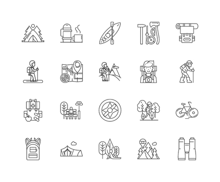 Hiking line icons, linear signs, vector set, outline concept illustration