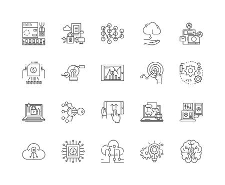 ハイテクビジネスラインアイコン、線形標識、ベクトルセット、アウトラインコンセプトイラスト