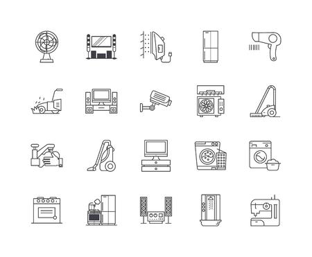 Iconos de línea de electrónica para el hogar, signos lineales, conjunto de vectores, ilustración del concepto de esquema Ilustración de vector