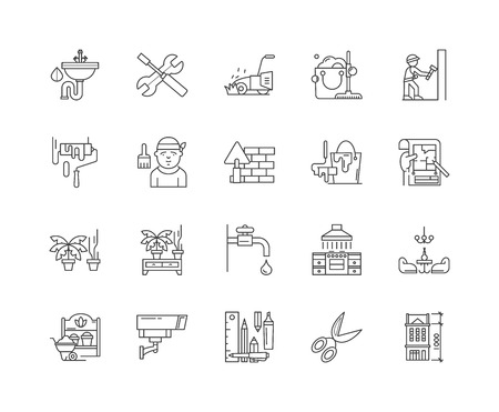Home improvement line icons, linear signs, vector set, outline concept illustration