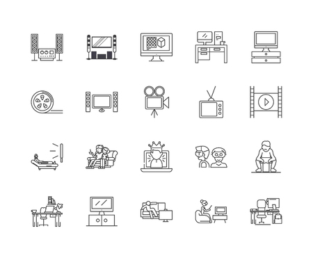 Home cinema line icons, linear signs, vector set, outline concept illustration