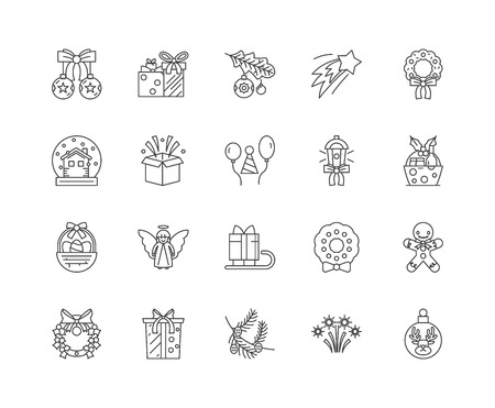 Holiday line icons, linear signs, vector set, outline concept illustration