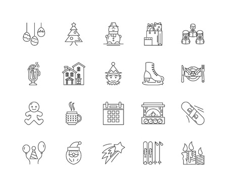 Holidays line icons, linear signs, vector set, outline concept illustration Illustration