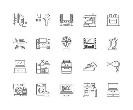 Home appliances line icons, linear signs, vector set, outline concept illustration Иллюстрация