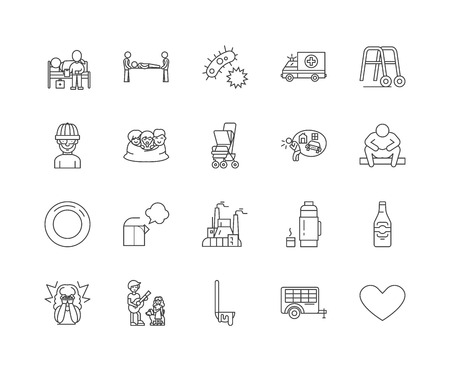 Homeless line icons, linear signs, vector set, outline concept illustration