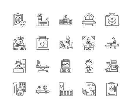 Hospital line icons, linear signs, vector set, outline concept illustration Foto de archivo - 122347209