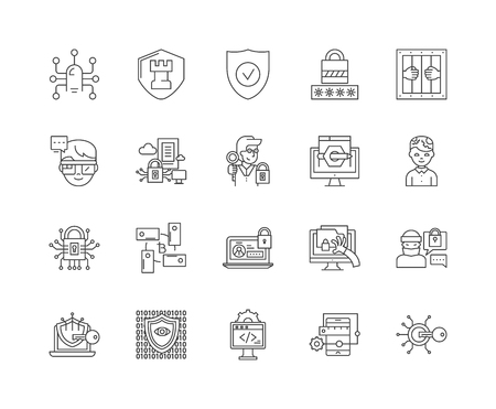 Information security line icons, linear signs, vector set, outline concept illustration