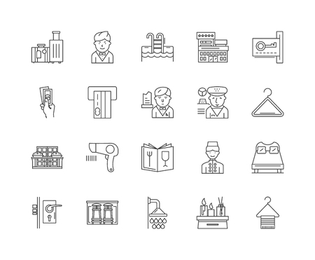 Hotel concept line icons, linear signs, vector set, outline concept illustration Illustration