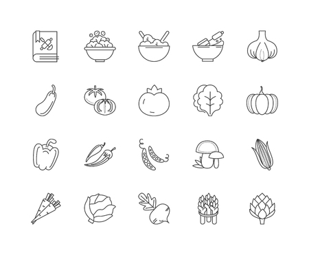 Icônes de ligne d'ingrédients, signes linéaires, ensemble de vecteurs, illustration de concept de contour
