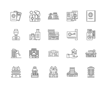 Hotels and motels line icons, linear signs, vector set, outline concept illustration