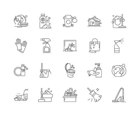 Hausreinigungsliniensymbole, lineare Zeichen, Vektorsatz, Umrisskonzeptillustration