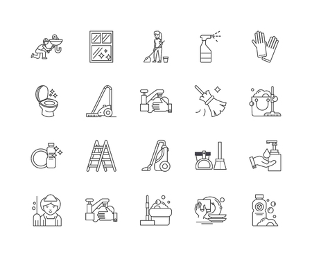 House clearance line icons, linear signs, vector set, outline concept illustration 向量圖像