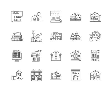 House for sale line icons, linear signs, vector set, outline concept illustration Illustration
