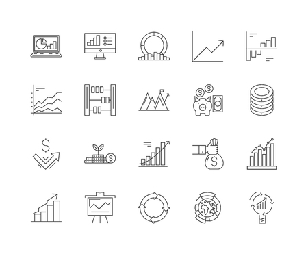 Investments line icons, linear signs, vector set, outline concept illustration