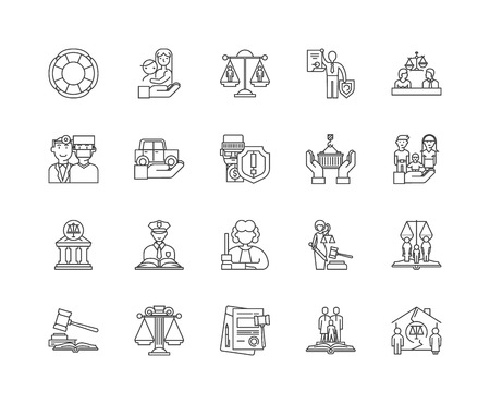 Human right line icons, linear signs, vector set, outline concept illustration