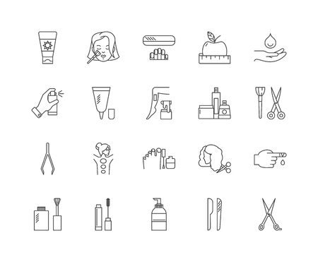 Hygiene line icons, linear signs, vector set, outline concept illustration Banco de Imagens - 122338822
