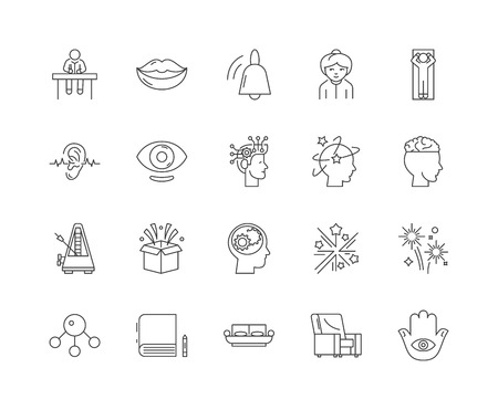 Hypnotherapy line icons, linear signs, vector set, outline concept illustration