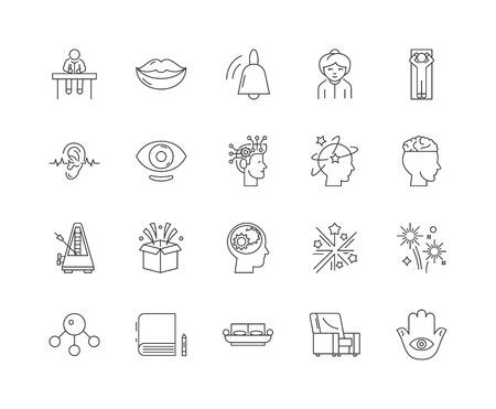 Icônes de ligne d'hypnothérapie, signes linéaires, ensemble de vecteurs, illustration de concept de contour Vecteurs