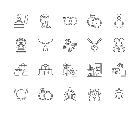 Jewerly business line icons, linear signs, vector set, outline concept illustration