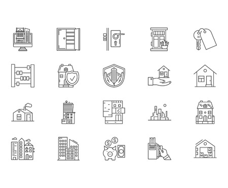 Houses to rent line icons, linear signs, vector set, outline concept illustration Illustration