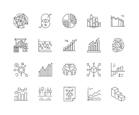 Infographic line icons, linear signs, vector set, outline concept illustration Stock Illustratie