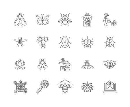 Insects line icons, linear signs, vector set, outline concept illustration Illustration