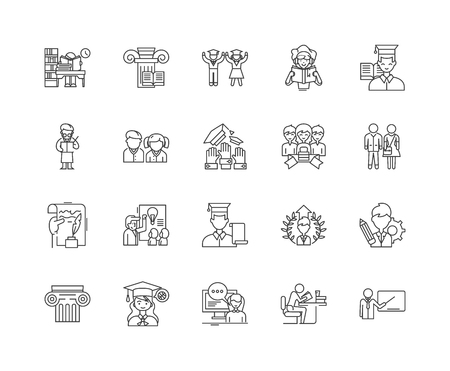 Institutes line icons, linear signs, vector set, outline concept illustration Ilustração