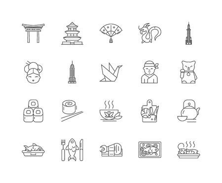 Japan line icons, linear signs, vector set, outline concept illustration