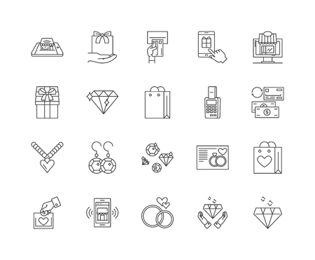 Jewelry store line icons, linear signs, vector set, outline concept illustration Standard-Bild - 122347058