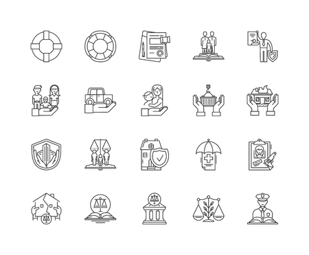 Insurance line icons, linear signs, vector set, outline concept illustration