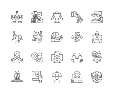 Insurance brockers line icons, linear signs, vector set, outline concept illustration