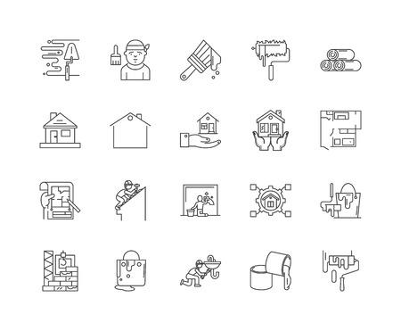 Hausrenovierungsliniensymbole, lineare Zeichen, Vektorsatz, Umrisskonzeptillustration