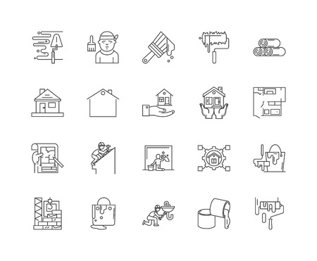House renovation line icons, linear signs, vector set, outline concept illustration 向量圖像