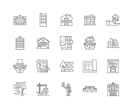 House renovation company line icons, linear signs, vector set, outline concept illustration Illustration