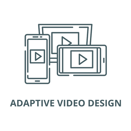Adaptive video design vector line icon, linear concept, outline sign, symbol