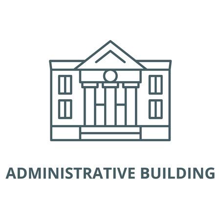 Administrative building vector line icon, linear concept, outline sign, symbol Иллюстрация