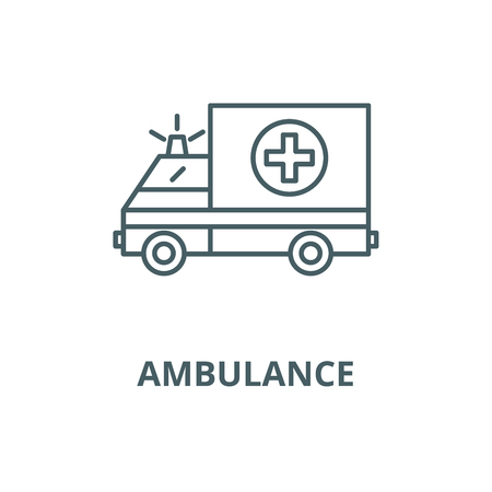 Ambulance vector line icon, linear concept, outline sign, symbol
