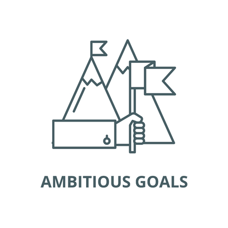 Ambitious goals vector line icon, linear concept, outline sign, symbol