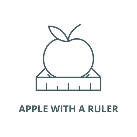Apple with a ruler vector line icon, linear concept, outline sign, symbol Çizim