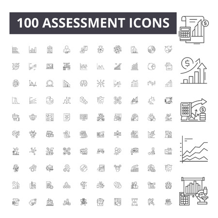 Assessment line icons, signs, vector set, outline concept illustration