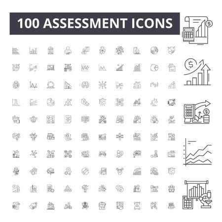 Assessment line icons, signs, vector set, outline concept illustration Illustration