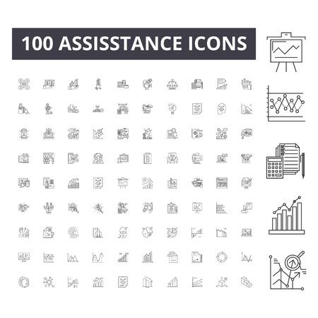 Assisstance line icons, signs, vector set, outline concept illustration Stock Illustratie