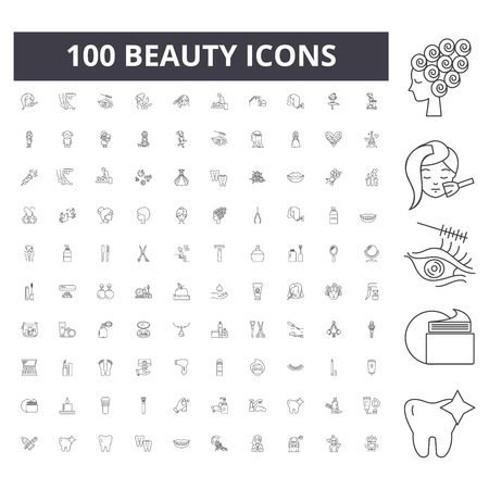 Beauty line icons, signs, vector set, outline concept illustration