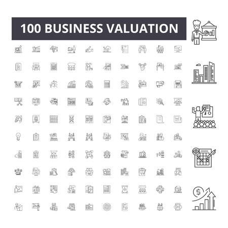 Icone della linea di valutazione aziendale, segni, set di vettori, illustrazione del concetto di contorno