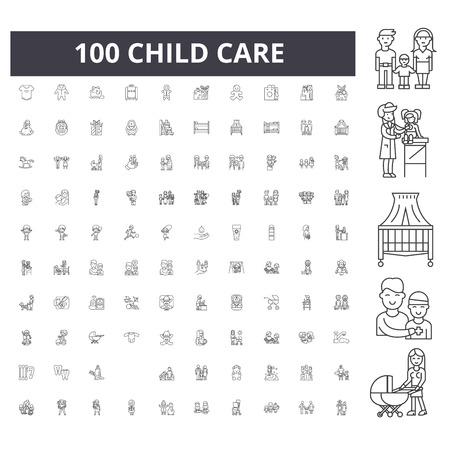 Child care line icons, signs, vector set, outline illustration concept 向量圖像