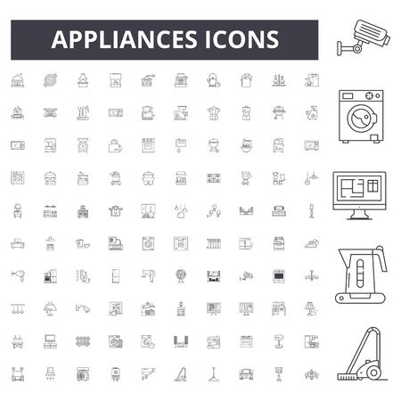 Appliances line icons, signs, vector set, outline concept illustration Ilustração